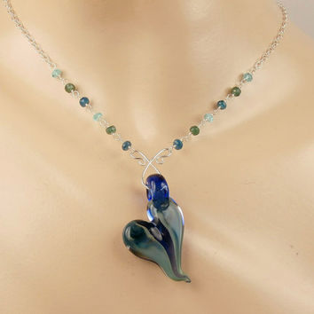 SALE 35% OFF Heart Pendant Lampwork Boro Glass Wire Wrap Gemstone Dangle Necklace Blue