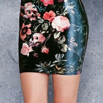 GARDEN OF THE DEAD VELVET MINI SKIRT - 48HR