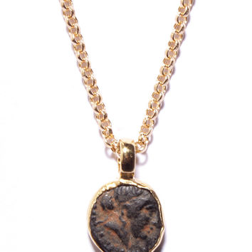 Ancient Greece Antique Coin. Gold Necklace.