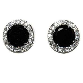 Matia Black Onyx Round Stud Earrings – 15mm | 5.5ct | Cubic Zirconia | Silver