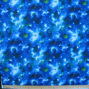 Nylon lycra swimwear fabric spandex Green Blue shades outer space design - 18 X 44 in. - perfect for bathing suits leotards equestrian