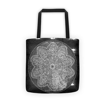 Black Grunge Mandala Tote Bag