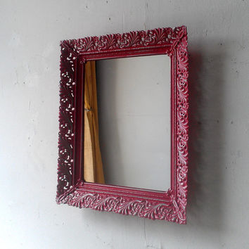 Vintage Mirror in Raspberry Pink and Silver Decorative Metal Frame, Vanity Mirror Tray, Pink Decor
