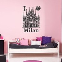 ik1046 Wall Decal Sticker Milan Cathedral Italy living room bedroom