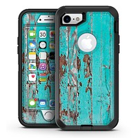 Turquoise Chipped Paint on Wood - iPhone 7 or 7 Plus OtterBox Defender Case Skin Decal Kit