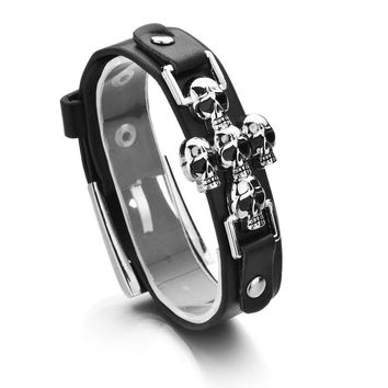 Skeleton Skull Punk Gothic Leather Buckle Belt Bracelets for Women