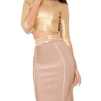 Amanda Gold and Pink Two Piece Dress