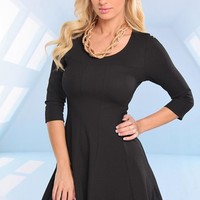 Black Quarter Sleeve Skater Dress with Round Neckline