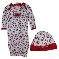 Sanrio Hello Kitty 2PC Gown and Cap Set Baby Girl One Size
