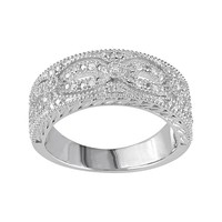 1/10 Carat T.W. Diamond Sterling Silver Openwork Ring (White)