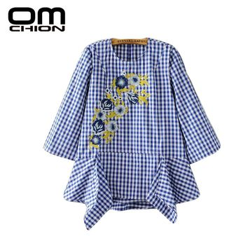 Summer New Casual Floral Embroidery Blouse Beading Retro Blue And White Plaid Women Tops