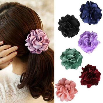 PEAP78W Women Elastic Rope Hair Band Rose Flower Ponytail Holder Scrunchie Accessories floral elastic hair bands