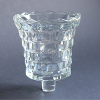 Clear Crystal Cut Votive Candle Cup for Candle Holder or Sconce, Vintage Glass, HOMCO Home Interiors