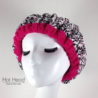 Hot Head Deep Conditioning Heat Caps - Natural Hair Repair Treatment - Hot Pink Diva Reversible