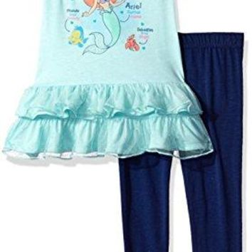 Disney Toddler Girls' Ariel The Little Mermaid 2-Piece Legging Set, Blue/Navy, 4T
