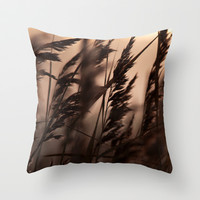 Reeds in sunrise Throw Pillow by Tanja Riedel