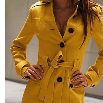 2015 Autumn winter mustard yellow single breasted cashmere coat slim waist slim wool overcoat outerwear women trench coat