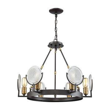 14504/6 Ocular 6 Light Chandelier In Oil Rubbed Bronze With Satin Brass Accents And Clear Railroad Light Glass