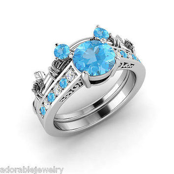 white gold on 925 sterling aquamarine cz mickey mouse wedding bridal ring set - Mickey Mouse Wedding Ring