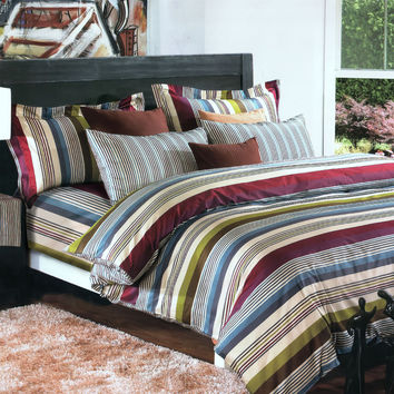 Cottage Stripe Luxury 4PC Comforter Set Combo 300GSM in Twin Size