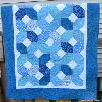 Baby Boy Quilt Blue White