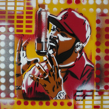 Ice Cube painting,canvas,beats,rhymes,stencil art,spraypaint,pop,microphone,street art,music,hip hop,rapper,icon,living,home,wicked,graffiti