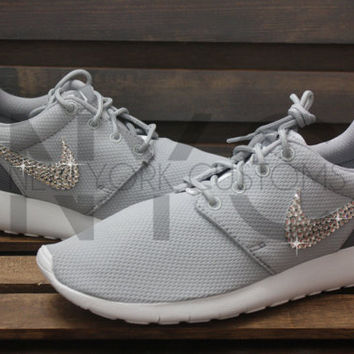 Blinged Nike Girls' Womens Roshe One Shoes Wolf Grey Customized With Swarovski Crystal Rhinestones Bling Nike
