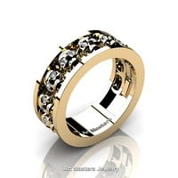 Mens Modern 14K Yellow Gold Diamond Skull Channel Cluster Wedding Ring R913-14KYGD