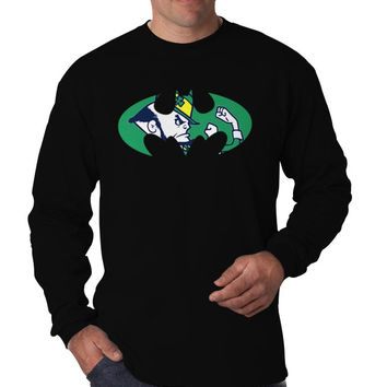 Notre Dame Inspired Batman Marvel Superhero Logo Long Sleeve Men's T-Shirt Long Sleeve Men's Tees Men's Shirt