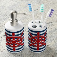 Nautical Navy Blue Stripes and Red Captain's Wheel Soap Dispenser & Toothbrush Holder