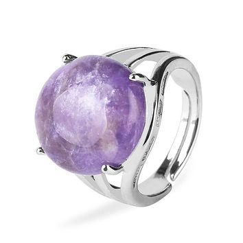 Women Natural Stone Round Beads Unique Ring