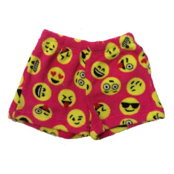 So Nikki Little Girl's Super Soft Fleece Pajama Shorts - Emoji Faces