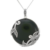 Sterling Silver Marcasite Leaves Overlay Round Onyx Pendant Necklace, 18""