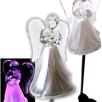 Solar Powered Angel w/ Frosted Skirt Garden Stake Landscape Color Change Lights (Set of 2)