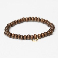 WOODEN BRACELET WITH CRESCENT MOON CHARM