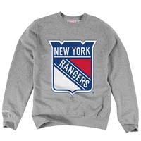 Mitchell & Ness New York Rangers Primary Logo Crew Neck Sweatshirt - Ash