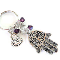 Hamsa Keychain Buddha Bag Charm Keyring Protection Yoga Accessories Purple Unique Birthday Gift Under 20 Item G53