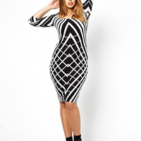 ASOS CURVE Exclusive Bodycon Dress In Graphic Print