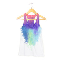 """The Original """"Splash Dyed"""" Hand PAINTED Scoop Neck Racerback Tank Top in White Berry Nebula - Women's XS S M L"""