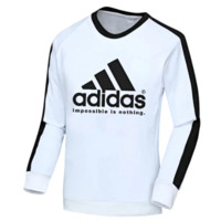 Adidas New Fashion Autumn And Winter Bust Letter Print Splice Long Sleeve Men Top Sweater White