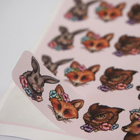 Sheet of Stickers - Floral Woodland Animals