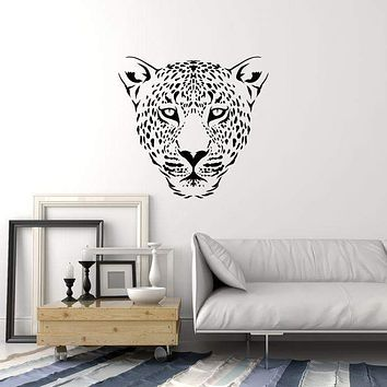 Vinyl Wall Decal Leopard Head Animal Predator Tribal Style Interior Stickers Mural (ig5839)