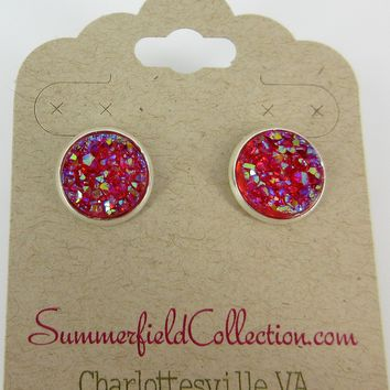 Silver-Tone Raspberry Faux Druzy Stone Stud Earrings 12mm