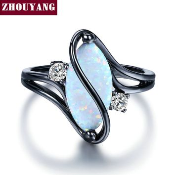 ZHOUYANG Ring For Women Oval Opal Stone Cubic Zirconia Black Gold Color Rings Fashion Jewelry Party Gift Hot Sale ZYR642