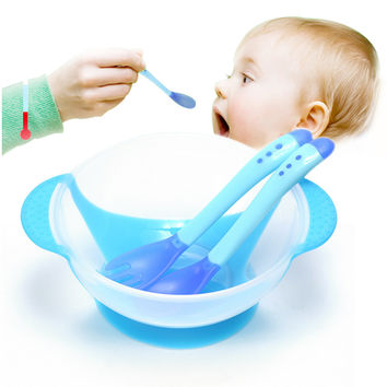 3Pcs/set Baby Learning Dishes With Suction Cup Assist Bowl Temperature Sensing Spoon Fork Tableware Kids Safety Dinnerware Set