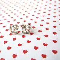 Petite Paved Anchor Earrings from JuicyDealz
