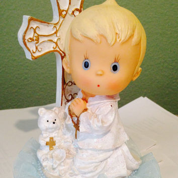 Baptism/First Communion Cake Topper for Boy or Baptism/Communion Centerpiece Boy