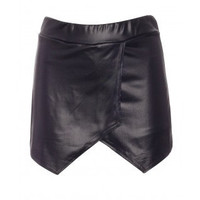 Celeb Lucy Watson Made In Chelsea Faux Leather Asymmetrical Skort Skirt Shorts MIC Celebrity