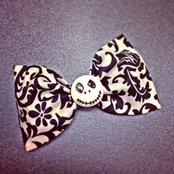 Nightmare Before Christmas Jack Damask print handmade fabric bow tie or hair bow