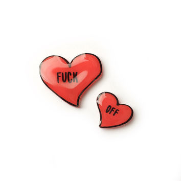 """""""Fuck Off"""" Red Hearts Pin Set"""